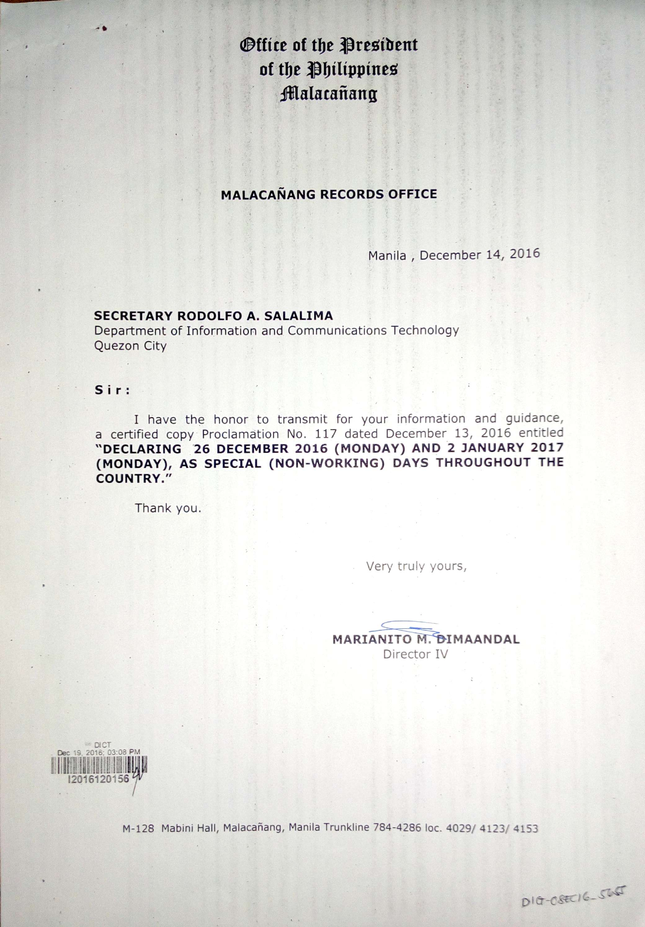 public announcement 26 december 2016 and 2 january 2017 declared as